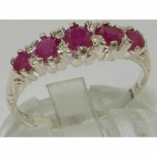 Made in England Solid Hallmarked 9ct White Gold Natural Ruby Vintage Style Ring