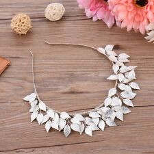 Women SILVER LEAF FASCINATOR HEADBAND Hair Accessory Spring Racing Cup Vintage