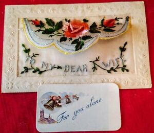 WWI Woven Silk Pocket Postcard To My Dear Wife - For You Alone