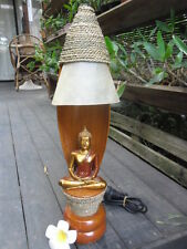 Unique Bali Coco Frond Buddha Table Lamp - (rattan, wood & raw leather) 1 only