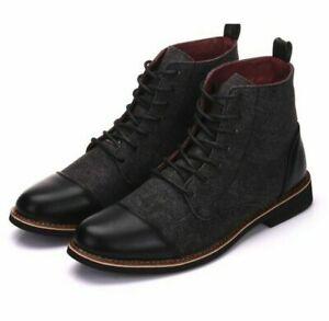 Men's Retro British Faux Leather Boots Dress Formal Casual Elegant Lace Up Shoes