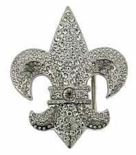 Fleur de Lis Belt Buckle French Flower Lily Girly Ladies Women New Rhinestone
