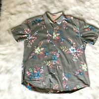 Tommy Bahama Relax Men's Size XXL 2XL 100% Cotton Shirt Floral Gray