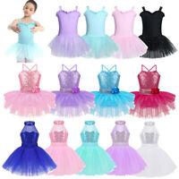 Girls Ballet Sequins Dance Dress Leotard Tutu Skirt Ballerina Costume Dancewear