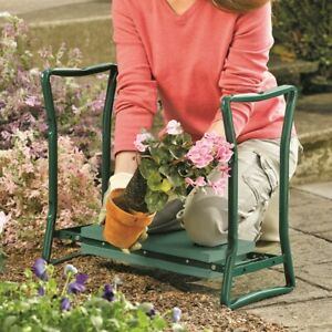 Heavy Duty Portable Folding 2 In 1 Garden Kneeler & Seat Bench w/ Thick Cushion
