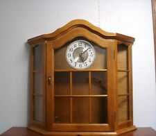 Vtg Glass Wood Curio Cabinet wall mount/Table Wall Shelf Display Case w/ clock