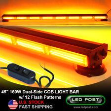 "45"" Amber 160W COB LED Double Side Hazard Warning Strobe Emergency Light Bar"