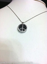 $770 GROOVY! 10K GOLD FANCY BLACK WHITE DIAMOND ENGRAVED PEACE SIGN PENDANT