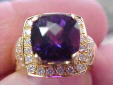 Modern Amethyst & Diamond Ring 14k Gold size 7  Wow!