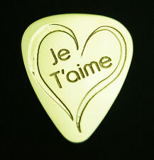 JE T'AIME - I LOVE YOU - Solid Brass Guitar Pick, Acoustic, Electric, Bass