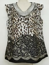 New Directions Womens Leopard Animal Print Sexy Beaded Top Blouse Small