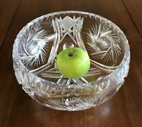Large Crystal hand cut Bohemia Footed Centerpiece Bowl Serving Salad dish Czech