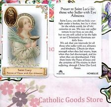 Saint St. Lucy - Patron of those with Eye Ailments - Plastic stock Holy Card