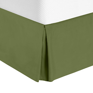 """Luxury Pleated Tailored Bed Skirt - 14"""" Drop Dust Ruffle, Queen - Calla Green"""