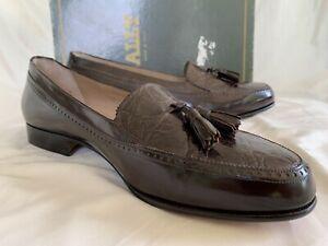 BALLY Italy - Royce Tasseled Penny Loafers - Genuine Crocodile - Burgundy - 10.5