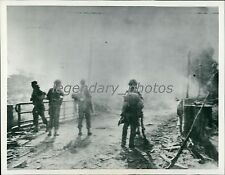 1945 World War II Aussies Cross Bridge to Balikpapan Original News Service Photo