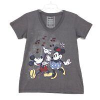 Disney Store MICKY MINNIE Dancing V Neck Tee T Shirt Juniors L Large Gray *READ*
