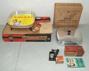 "New!! NOS!! Vtg PRESTO Control Master 12"" Fry Pan & Power Cord & Lid/ Cover"