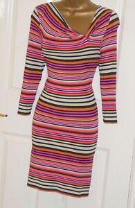 Phase Eight pink nude black stripe stretch jersey smart every day dress sz 10 12