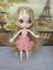 Neo Blythe Doll -Customized Shiny Nbl Face-Bjd With Pink Outfit And Shoes Clone