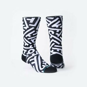 STANCE Men Anthem Aaron De La Cruz Black White Crew Socks Size Large 9-12