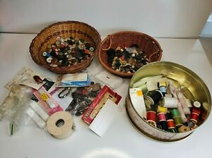 Vintage Large Lot of Vintage Buttons Collection & Vintage Sewing Needle & Thread