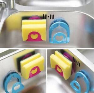 ORGANIZER Waschbecken Küche Seife Schwamm Schwammhalter Neu Saugnapf in Orange