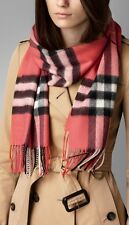 NWT Burberry Scarf Giant Exploded Check Cashmere Shawl Nova Check Coral Pink