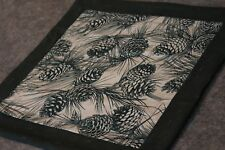 Green Pine Cones Boughs 16 x 15 1/2  New Handmade Quilted Table Runner