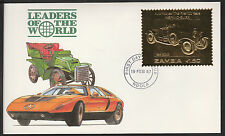 Zambia (380) 1987 Classic Cars - HISPANO-SUIZA in 22k gold foil First day Cover