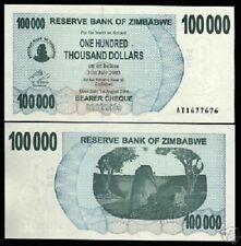 ZIMBABWE 100,000 100000 DOLLARS P48 2006 UNC WORLD PAPER MONEY ROCK BANK NOTE