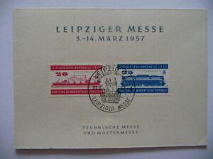 Ältere Klappkarte Leipziger Messe 1957, Briefmarken gestempelt.