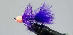 6QTY EGG SUCKING CRYSTAL LEECH - PURPLE W/ SALMON Fly Fishing Flies size 06 & 08
