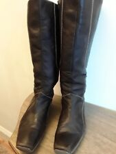 Ladies, size 8. Brown leather, wedge heel knee length boots. Side zip