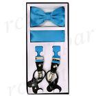 New in box Men Convertible Elastic Turquoise blue Suspender bowtie  hankie