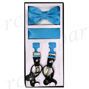 New in box Men Convertible Elastic Turquoise blue Suspender_bowtie & hankie