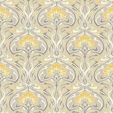 Crown M1195 Flora Nouveau Yellow Grey Floral Wallpaper Retro
