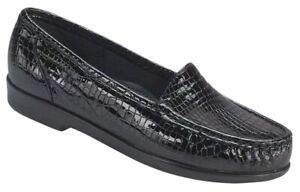 SAS Simplify Black Croc 8 Narrow, Women's Shoes