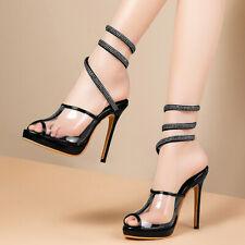 Women Gladiator Sandals Peep Toe Transparent Stiletto High Heel Pumps Shoes US 6