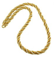 """VINTAGE TRIFARI MATTE GOLD TONE & SEED PEARL TWIST CHAIN NECKLACE 1970'S 20.5"""""""