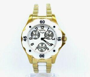 INVICTA 1655 ANGEL Divine Messengers Chronograph GOLD White CERAMIC Quartz Watch