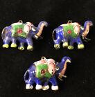 Antique India meenakari enamel elephant figurine charm pendant drop trio 100419@
