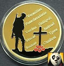 1914-1918 gran I Guerra Mundial Primera Guerra Mundial Amapola Chapado en oro tamaño corona moneda UNC Medallón