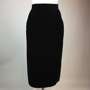 St Michael Vintage 80s Black Velvet Skirt UK 14L (10-12) Pencil Pockets  Long