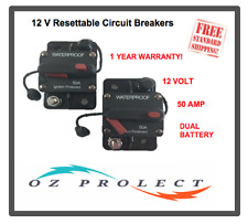2 X Waterproof Resettable Circuit Breakers 50 Amp Dual Battery IP67 12V 24V Volt