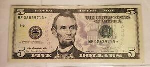 2013 (F) $5 Five Dollar Bill Federal Reserve Note Star Note Atlanta 02839713