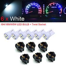 "6x T10 168 194 LED Instrument Panel Dash Light Bulb 1/2"" Twist Lock Socket WHITE"