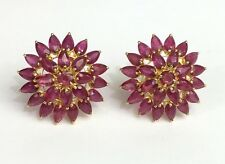 14k Solid Yellow Gold Big Cluster Flower Stud Earrings, Natural Ruby 11TCW