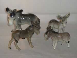 Goebel W Germany. Coopercraft? & Melba? Donkey Figures Total 4