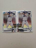 Austin Wells (2) Lot 2021 Bowman Chrome Prospect #BCP-47 x 2 NY Yankees